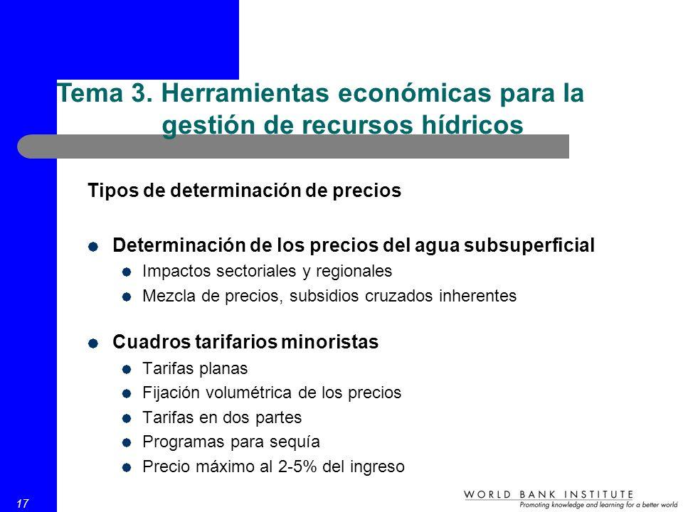 17 Tipos de determinación de precios Determinación de los precios del agua subsuperficial Impactos sectoriales y regionales Mezcla de precios, subsidi