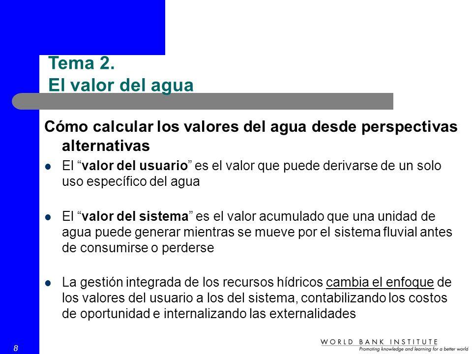 8 Cómo calcular los valores del agua desde perspectivas alternativas El valor del usuario es el valor que puede derivarse de un solo uso específico de
