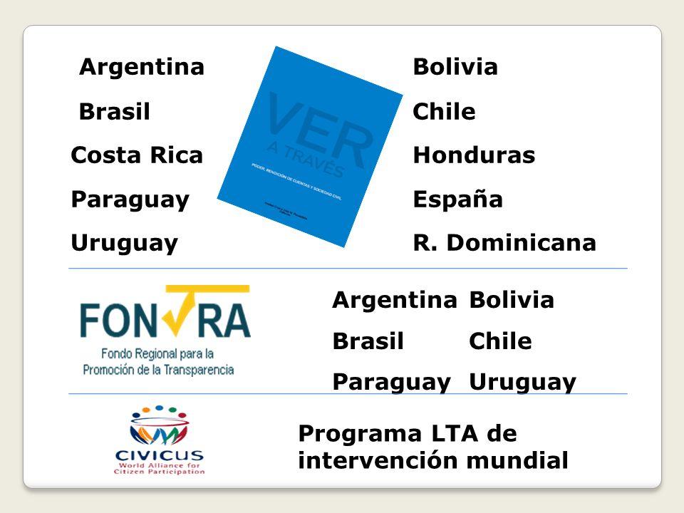 Argentina Bolivia Brasil Chile Costa Rica Honduras Paraguay España Uruguay R. Dominicana ArgentinaBolivia Brasil Chile ParaguayUruguay Programa LTA de