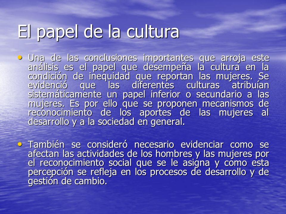 El papel de la cultura Una de las conclusiones importantes que arroja este análisis es el papel que desempeña la cultura en la condición de inequidad