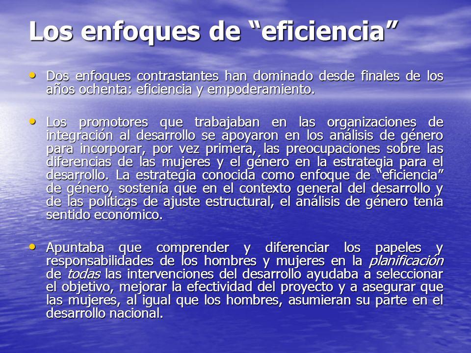 Los enfoques de eficiencia Dos enfoques contrastantes han dominado desde finales de los años ochenta: eficiencia y empoderamiento. Dos enfoques contra