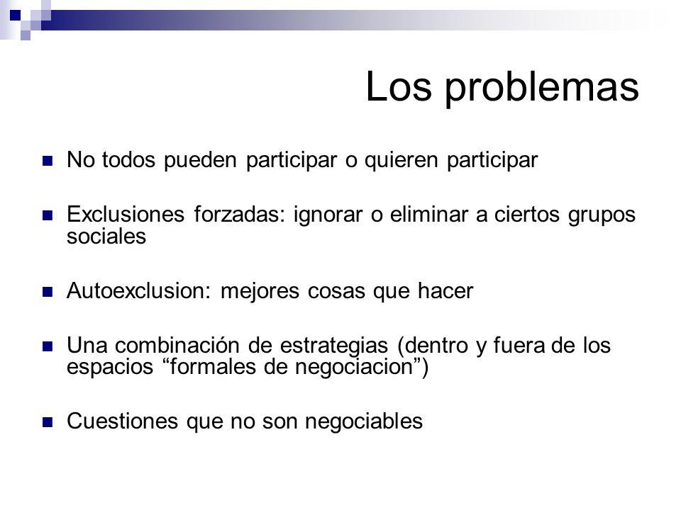 Los problemas No todos pueden participar o quieren participar Exclusiones forzadas: ignorar o eliminar a ciertos grupos sociales Autoexclusion: mejore