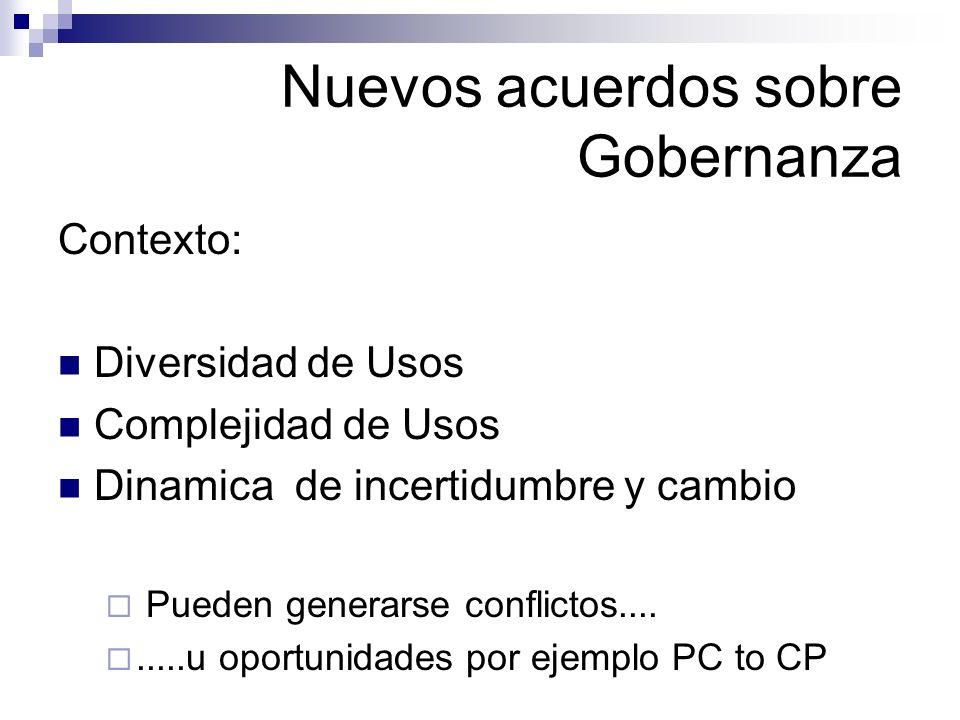Nuevos acuerdos sobre Gobernanza Contexto: Diversidad de Usos Complejidad de Usos Dinamica de incertidumbre y cambio Pueden generarse conflictos......