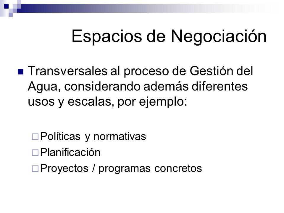 Espacios de Negociación Transversales al proceso de Gestión del Agua, considerando además diferentes usos y escalas, por ejemplo: Políticas y normativ