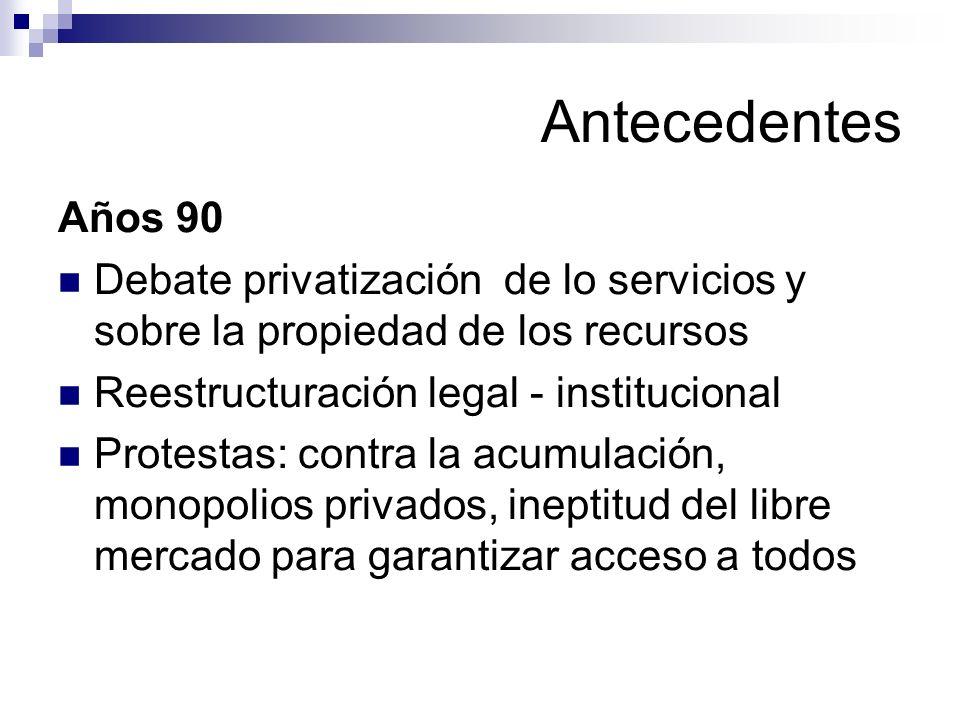 Antecedentes Años 90 Debate privatización de lo servicios y sobre la propiedad de los recursos Reestructuración legal - institucional Protestas: contr