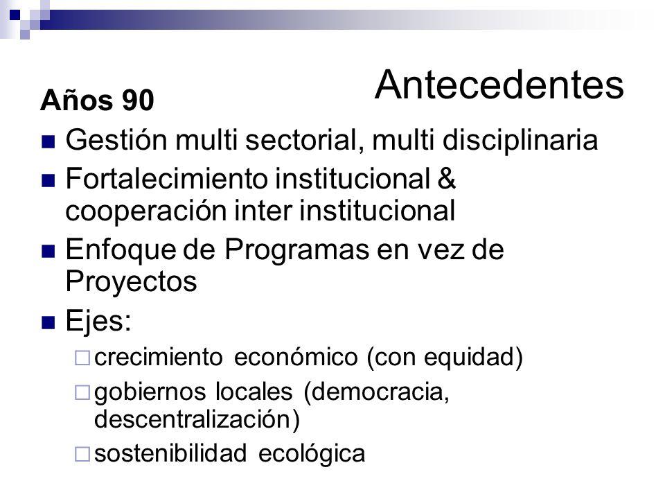 Antecedentes Años 90 Gestión multi sectorial, multi disciplinaria Fortalecimiento institucional & cooperación inter institucional Enfoque de Programas