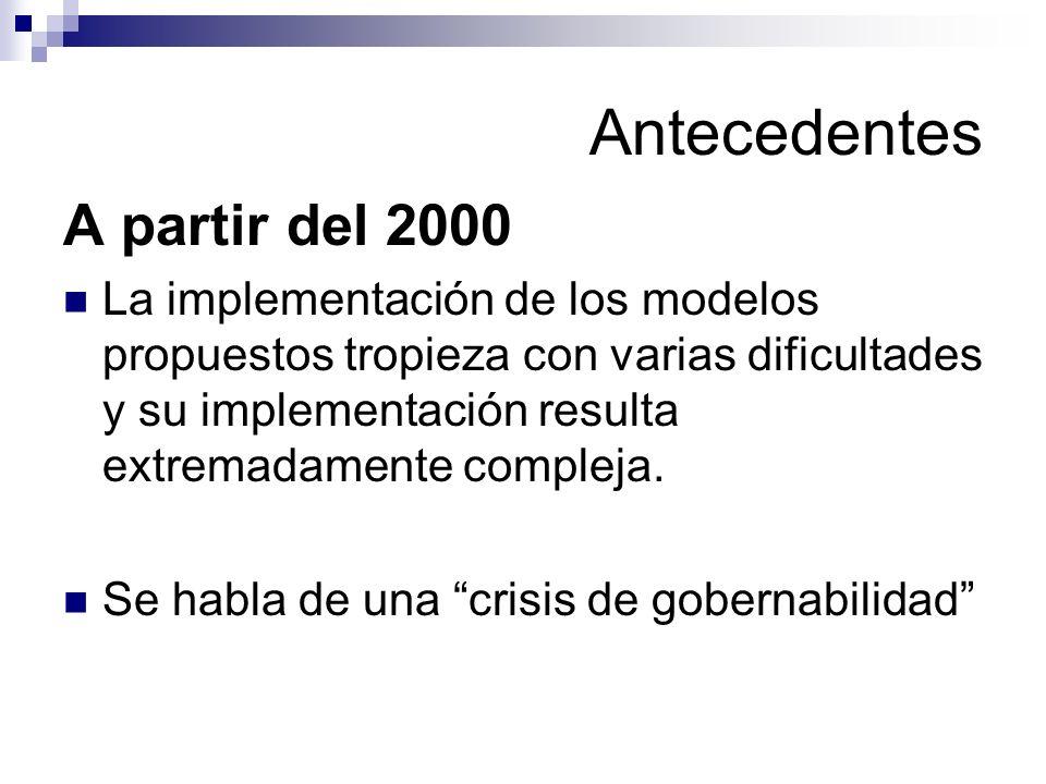 Antecedentes A partir del 2000 La implementación de los modelos propuestos tropieza con varias dificultades y su implementación resulta extremadamente