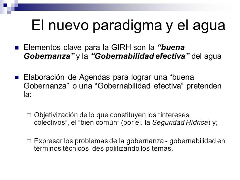 El nuevo paradigma y el agua Elementos clave para la GIRH son la buena Gobernanza y la Gobernabilidad efectiva del agua Elaboración de Agendas para lo
