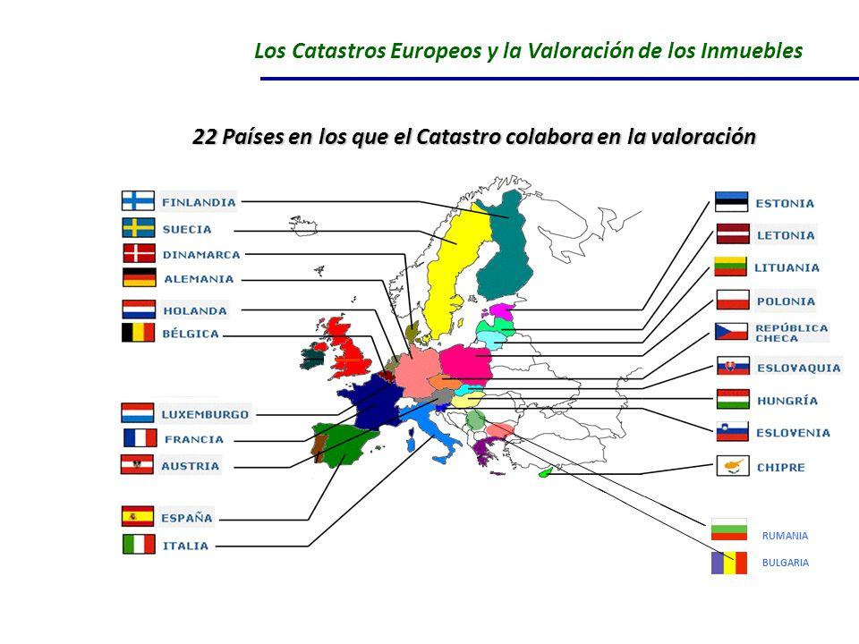 Los Catastros Europeos y la Valoración de los Inmuebles RUMANIA BULGARIA 22 Países en los que el Catastro colabora en la valoración