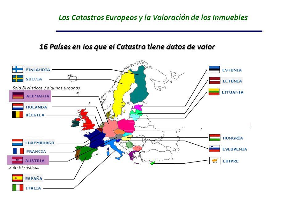 Los Catastros Europeos y la Valoración de los Inmuebles RUMANIA BULGARIA 16 Países en los que el Catastro tiene datos de valor Solo BI rústicos y algu