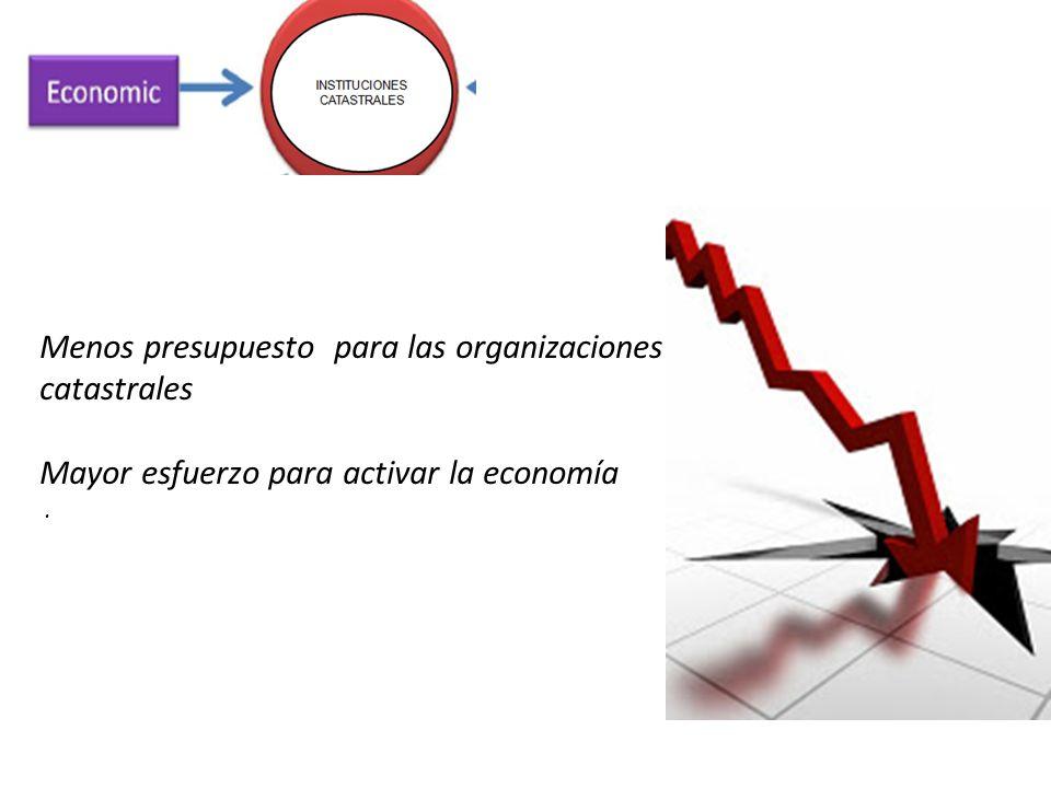 Menos presupuesto para las organizaciones catastrales Mayor esfuerzo para activar la economía.