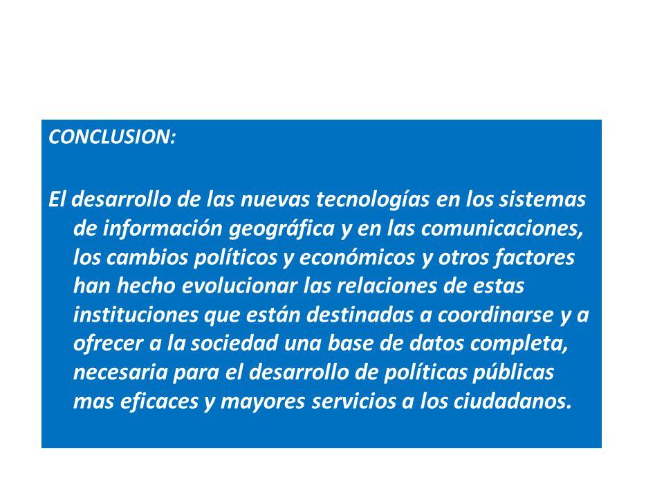 CONCLUSION: El desarrollo de las nuevas tecnologías en los sistemas de información geográfica y en las comunicaciones, los cambios políticos y económi