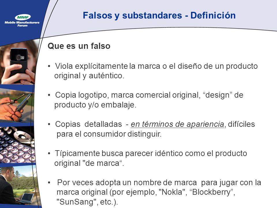 Falsos y substandares - Definición Que es un falso Viola explícitamente la marca o el diseño de un producto original y auténtico.