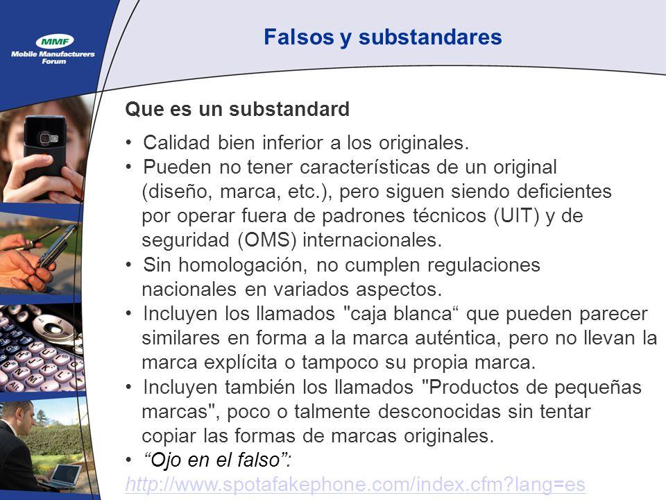Falsos y substandares Que es un substandard Calidad bien inferior a los originales.