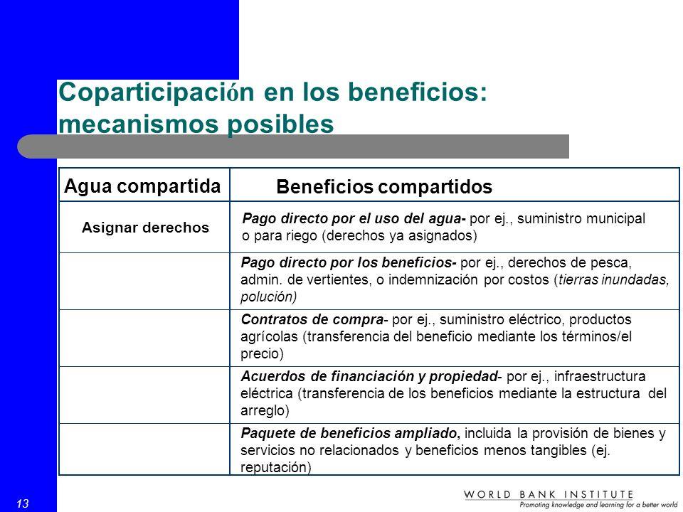 13 Coparticipaci ó n en los beneficios: mecanismos posibles Agua compartida Beneficios compartidos Asignar derechos Pago directo por el uso del agua- por ej., suministro municipal o para riego (derechos ya asignados) Pago directo por los beneficios- por ej., derechos de pesca, admin.