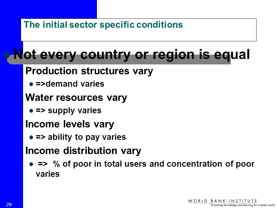 29 The initial sector specific conditions Not every country or region is equal – Production structures vary =>demand varies – Water resources vary => supply varies – Income levels vary => ability to pay varies – Income distribution vary => % of poor in total users and concentration of poor varies