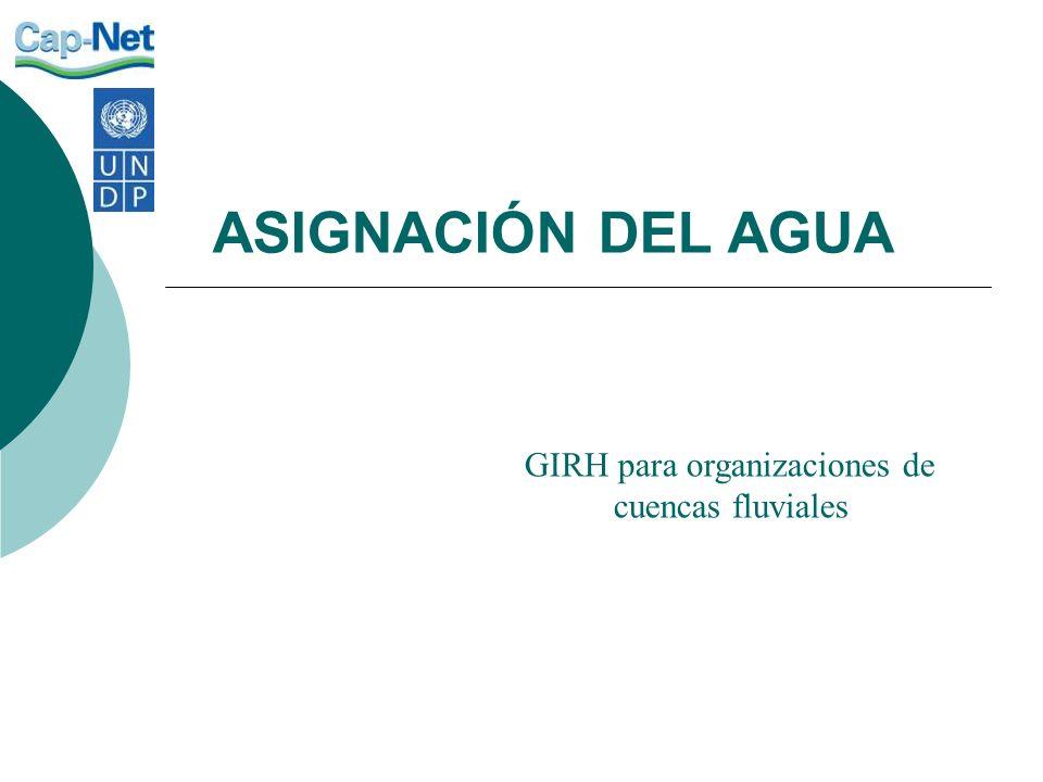 ASIGNACIÓN DEL AGUA GIRH para organizaciones de cuencas fluviales
