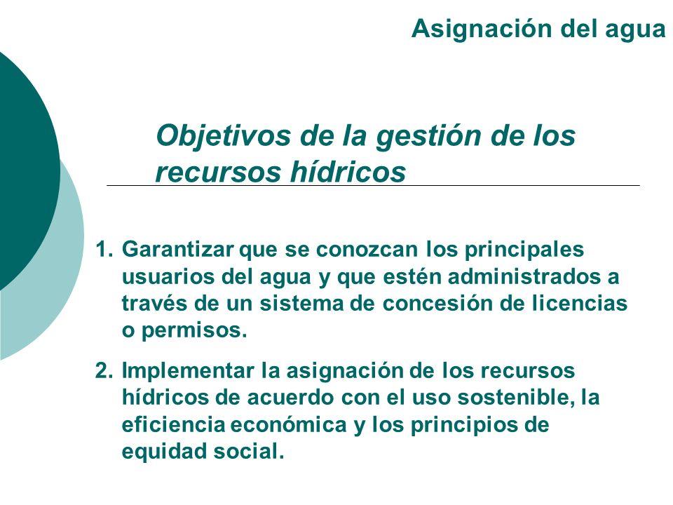 1.Garantizar que se conozcan los principales usuarios del agua y que estén administrados a través de un sistema de concesión de licencias o permisos.