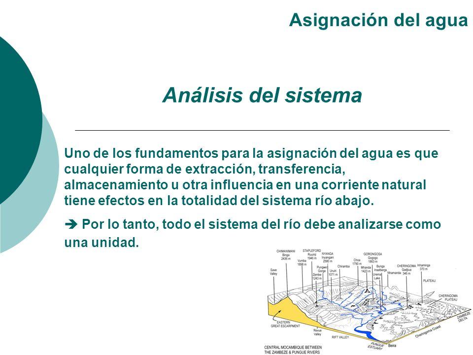 Uno de los fundamentos para la asignación del agua es que cualquier forma de extracción, transferencia, almacenamiento u otra influencia en una corrie