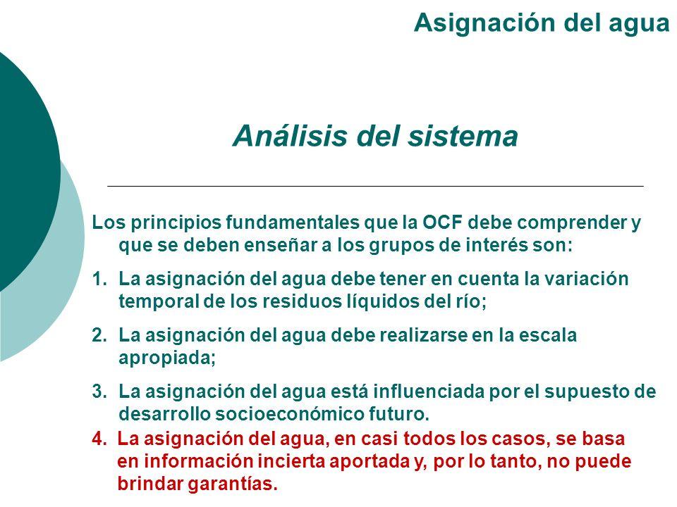 Los principios fundamentales que la OCF debe comprender y que se deben enseñar a los grupos de interés son: 1.La asignación del agua debe tener en cue