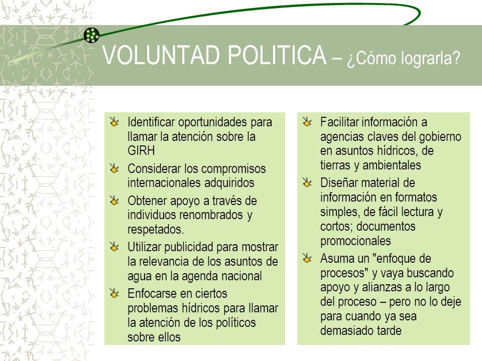 VOLUNTAD POLITICA – ¿Cómo lograrla? Identificar oportunidades para llamar la atención sobre la GIRH Considerar los compromisos internacionales adquiri