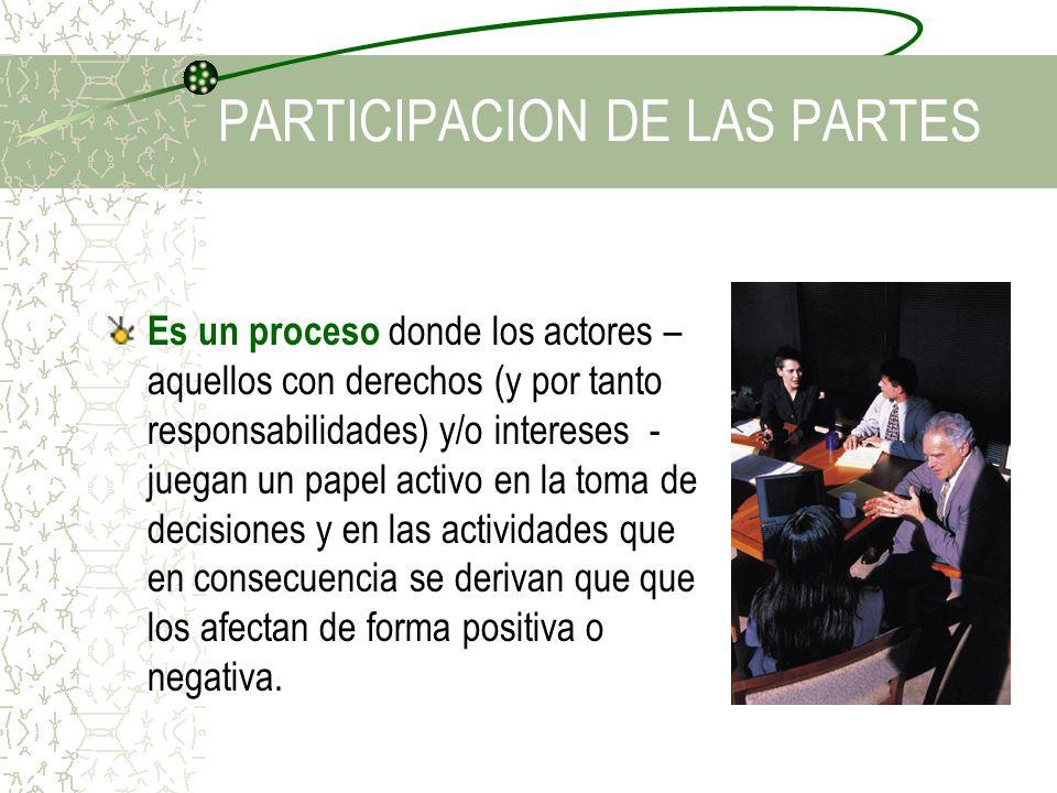 PARTICIPACION DE LAS PARTES Es un proceso donde los actores – aquellos con derechos (y por tanto responsabilidades) y/o intereses - juegan un papel ac