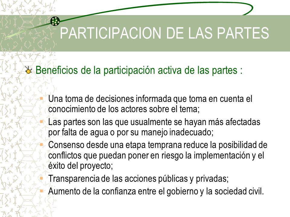 Beneficios de la participación activa de las partes : Una toma de decisiones informada que toma en cuenta el conocimiento de los actores sobre el tema