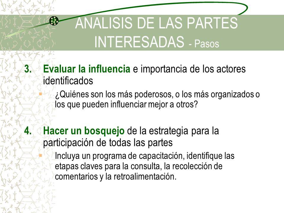 3.Evaluar la influencia e importancia de los actores identificados ¿Quiénes son los más poderosos, o los más organizados o los que pueden influenciar