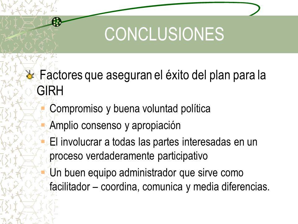 CONCLUSIONES Factores que aseguran el éxito del plan para la GIRH Compromiso y buena voluntad política Amplio consenso y apropiación El involucrar a t