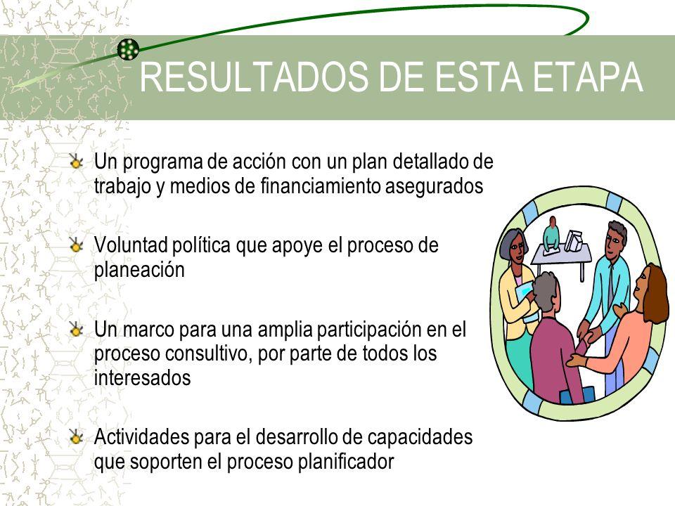 RESULTADOS DE ESTA ETAPA Un programa de acción con un plan detallado de trabajo y medios de financiamiento asegurados Voluntad política que apoye el p