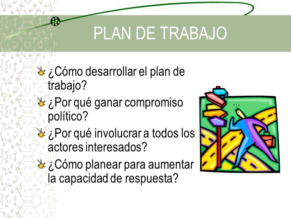 PLAN DE TRABAJO ¿Cómo desarrollar el plan de trabajo? ¿Por qué ganar compromiso político? ¿Por qué involucrar a todos los actores interesados? ¿Cómo p