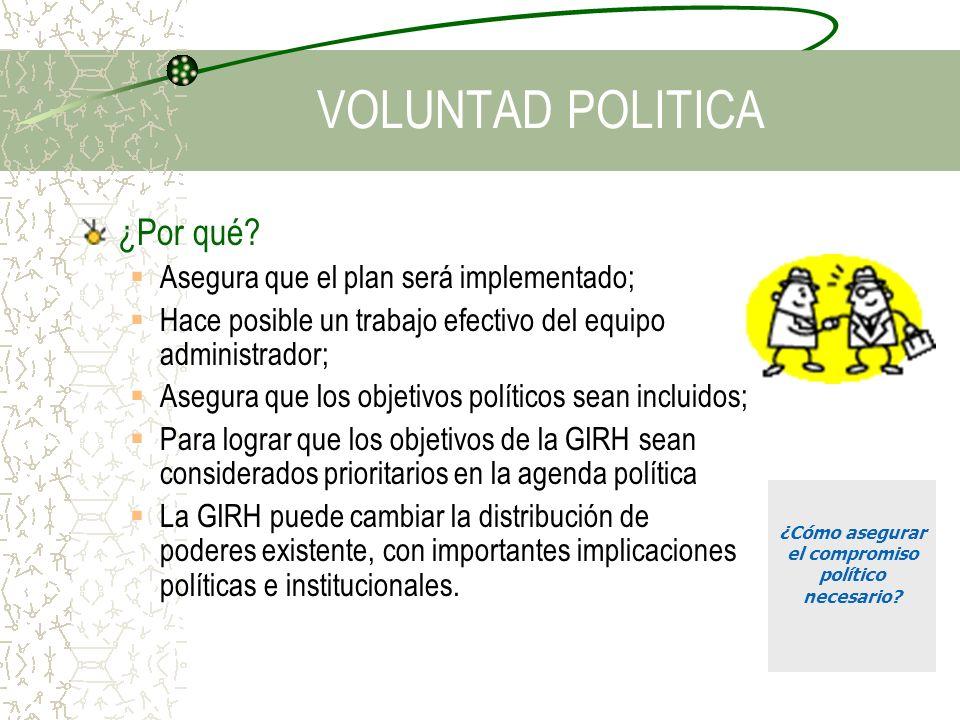 VOLUNTAD POLITICA ¿Por qué? Asegura que el plan será implementado; Hace posible un trabajo efectivo del equipo administrador; Asegura que los objetivo