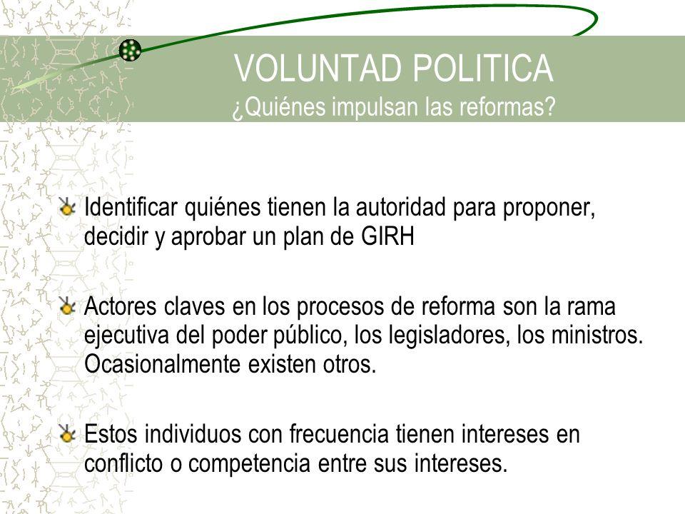 VOLUNTAD POLITICA ¿Quiénes impulsan las reformas? Identificar quiénes tienen la autoridad para proponer, decidir y aprobar un plan de GIRH Actores cla