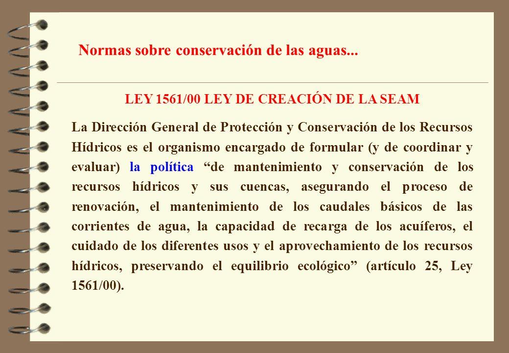 LEY 1561/00 LEY DE CREACIÓN DE LA SEAM La Dirección General de Protección y Conservación de los Recursos Hídricos es el organismo encargado de formula