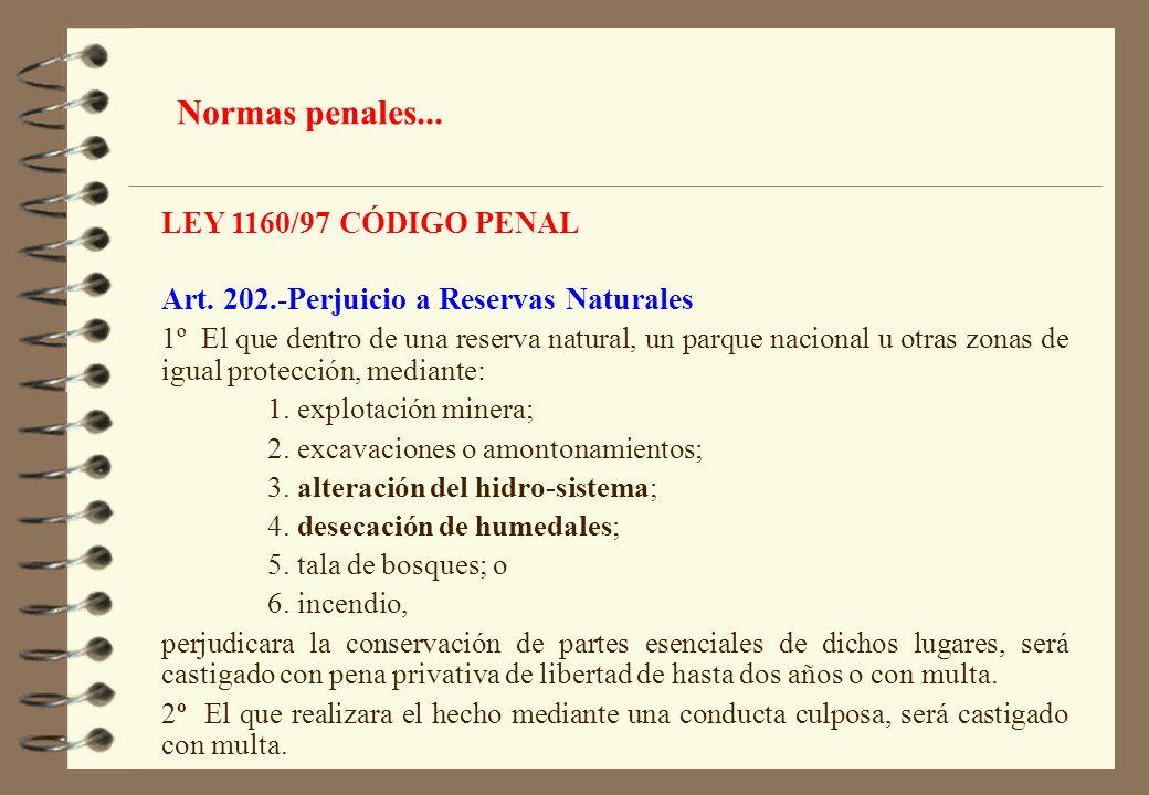 LEY 1160/97 CÓDIGO PENAL Art. 202.-Perjuicio a Reservas Naturales 1º El que dentro de una reserva natural, un parque nacional u otras zonas de igual p