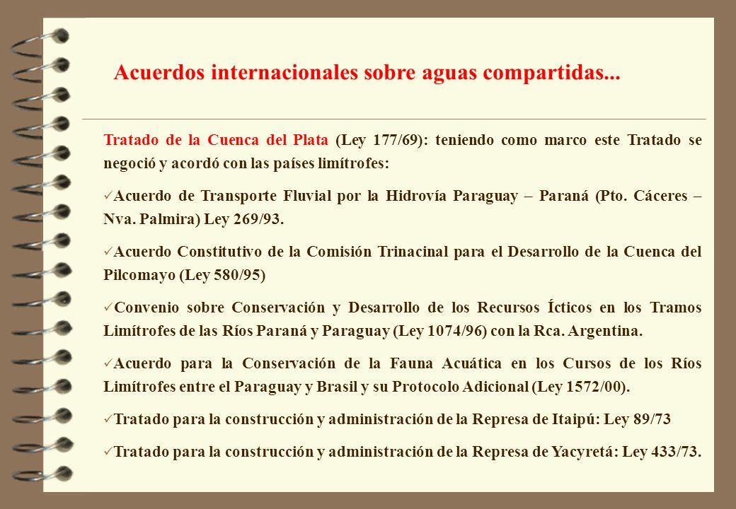 Tratado de la Cuenca del Plata (Ley 177/69): teniendo como marco este Tratado se negoció y acordó con las países limítrofes: Acuerdo de Transporte Flu
