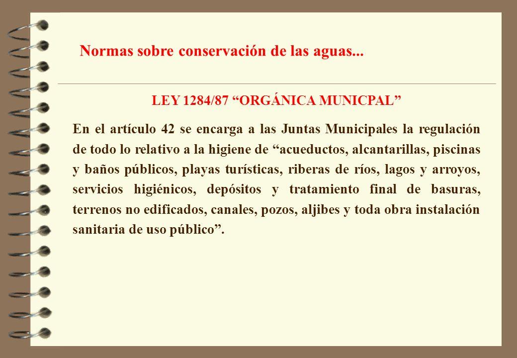 LEY 1284/87 ORGÁNICA MUNICPAL En el artículo 42 se encarga a las Juntas Municipales la regulación de todo lo relativo a la higiene de acueductos, alca