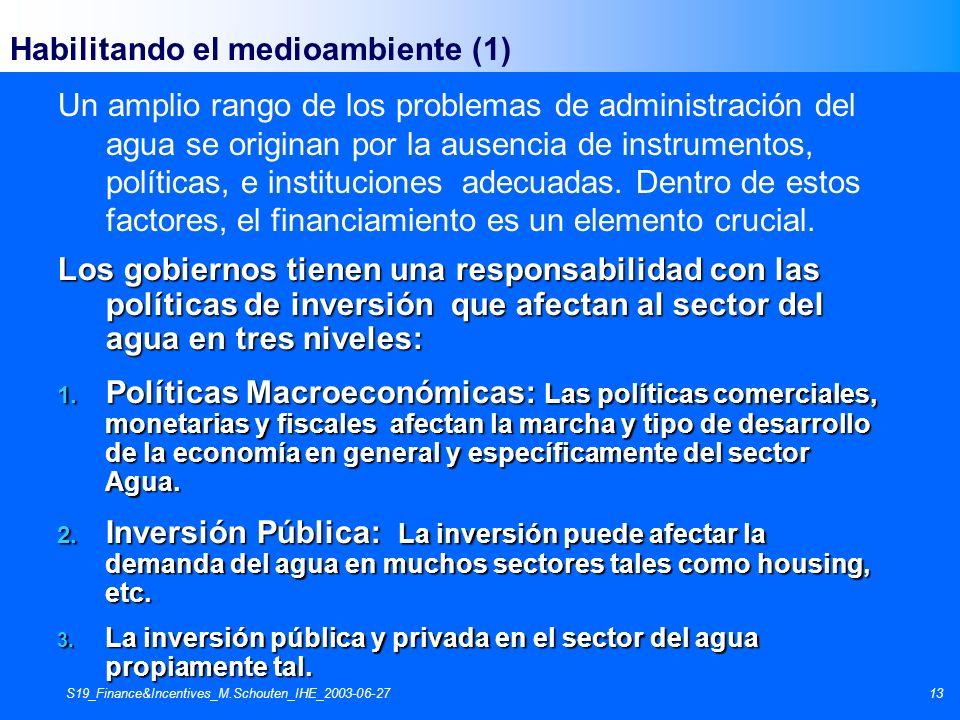 S19_Finance&Incentives_M.Schouten_IHE_2003-06-2713 Un amplio rango de los problemas de administración del agua se originan por la ausencia de instrume