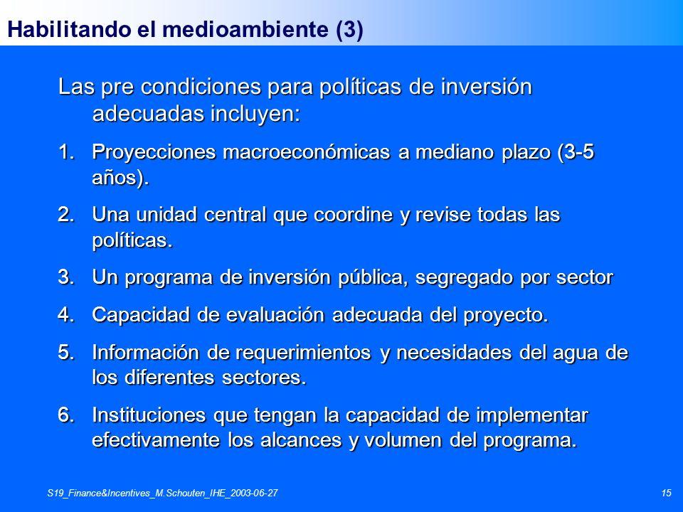 S19_Finance&Incentives_M.Schouten_IHE_2003-06-2715 Habilitando el medioambiente (3) Las pre condiciones para políticas de inversión adecuadas incluyen