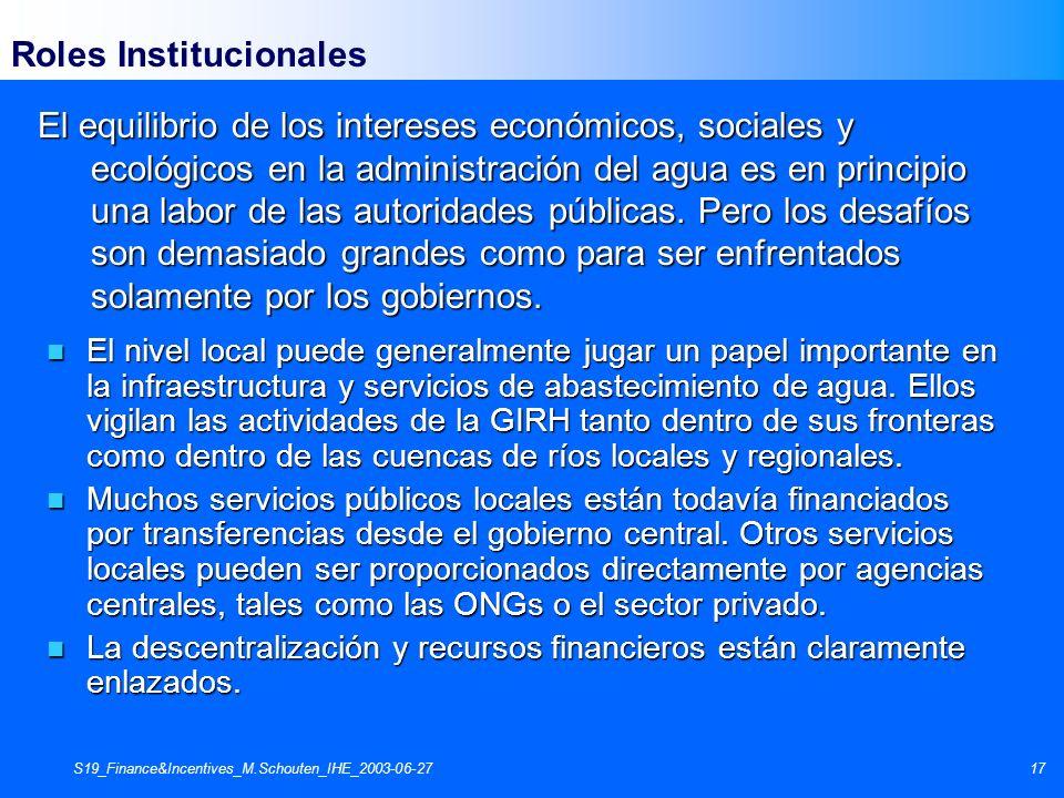 S19_Finance&Incentives_M.Schouten_IHE_2003-06-2717 Roles Institucionales El equilibrio de los intereses económicos, sociales y ecológicos en la admini