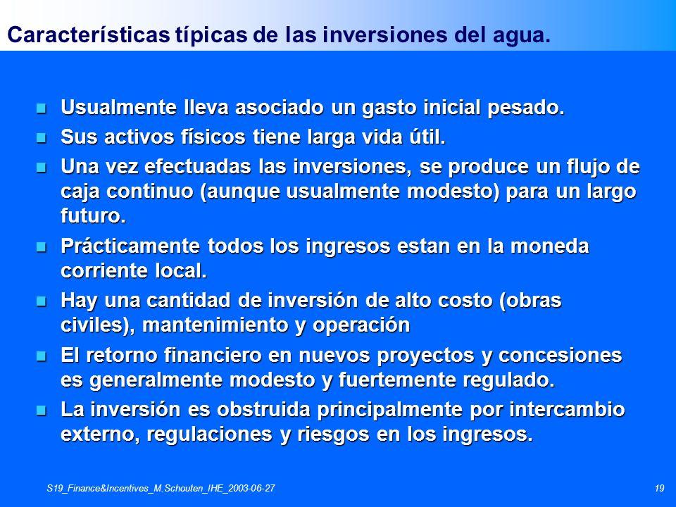 S19_Finance&Incentives_M.Schouten_IHE_2003-06-2719 Características típicas de las inversiones del agua. n Usualmente lleva asociado un gasto inicial p