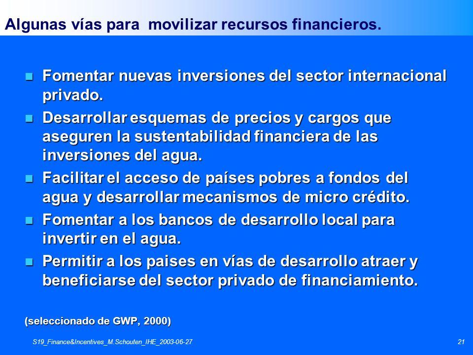 S19_Finance&Incentives_M.Schouten_IHE_2003-06-2721 Algunas vías para movilizar recursos financieros. n Fomentar nuevas inversiones del sector internac