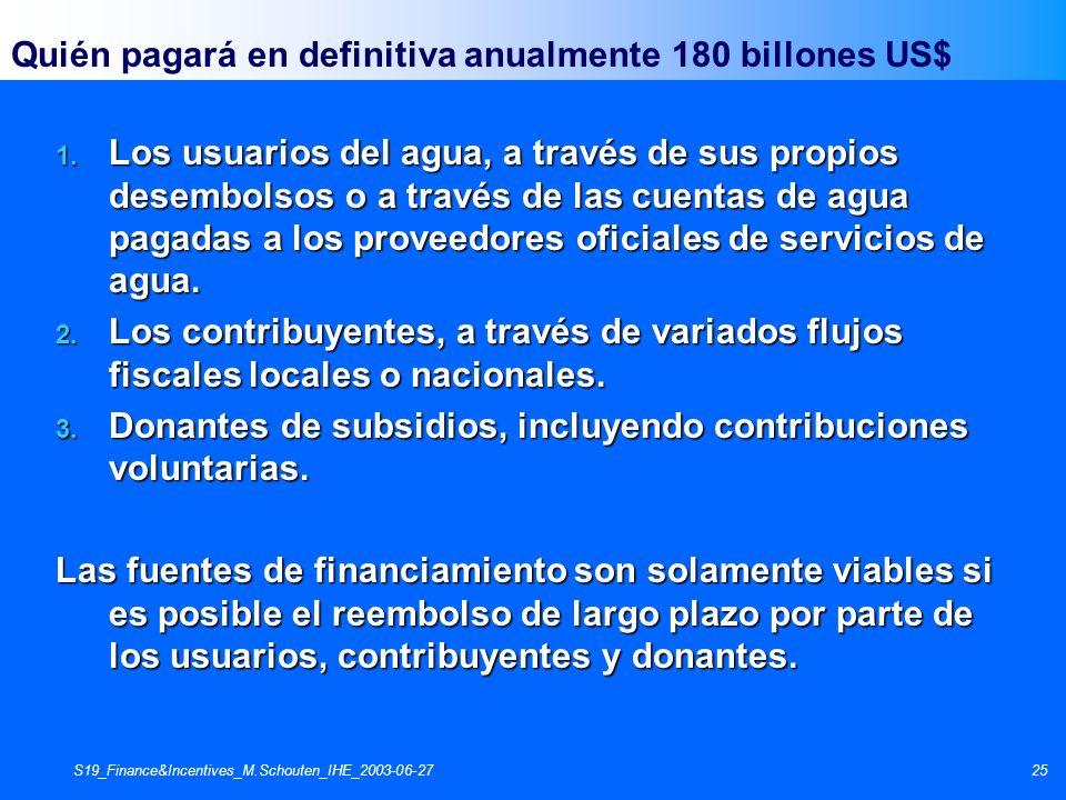 S19_Finance&Incentives_M.Schouten_IHE_2003-06-2725 Quién pagará en definitiva anualmente 180 billones US$ 1. Los usuarios del agua, a través de sus pr