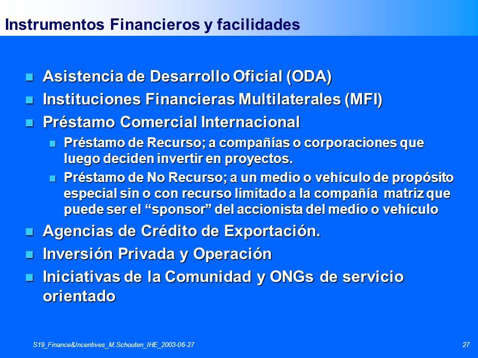 S19_Finance&Incentives_M.Schouten_IHE_2003-06-2727 Instrumentos Financieros y facilidades n Asistencia de Desarrollo Oficial (ODA) n Instituciones Fin