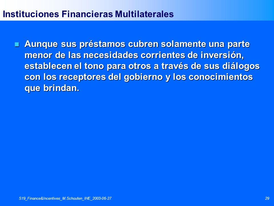 S19_Finance&Incentives_M.Schouten_IHE_2003-06-2729 Instituciones Financieras Multilaterales n Aunque sus préstamos cubren solamente una parte menor de