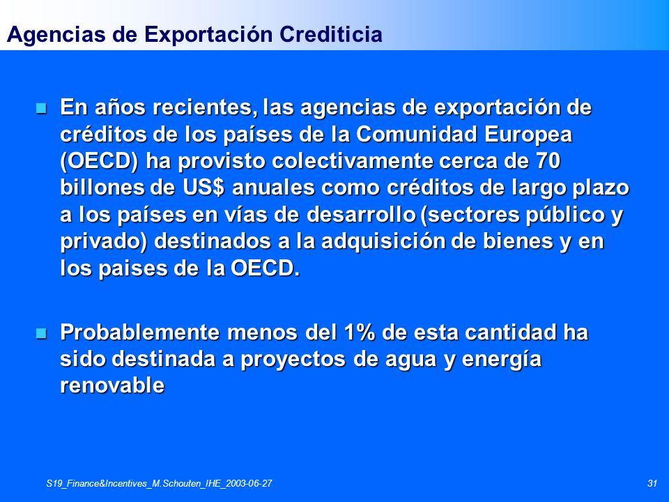 S19_Finance&Incentives_M.Schouten_IHE_2003-06-2731 Agencias de Exportación Crediticia n En años recientes, las agencias de exportación de créditos de