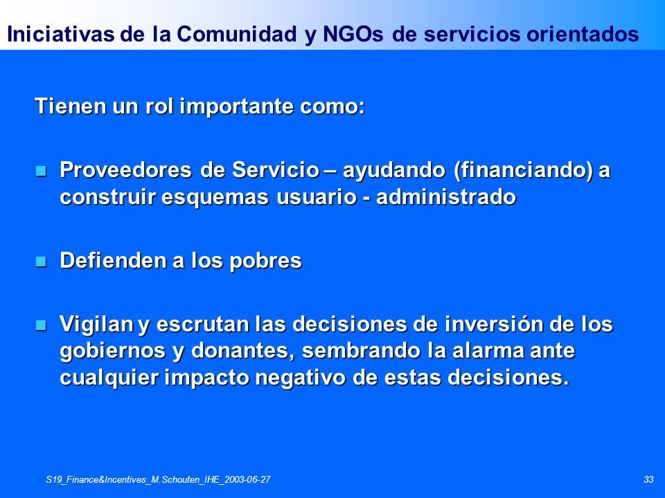 S19_Finance&Incentives_M.Schouten_IHE_2003-06-2733 Iniciativas de la Comunidad y NGOs de servicios orientados Tienen un rol importante como: n Proveed