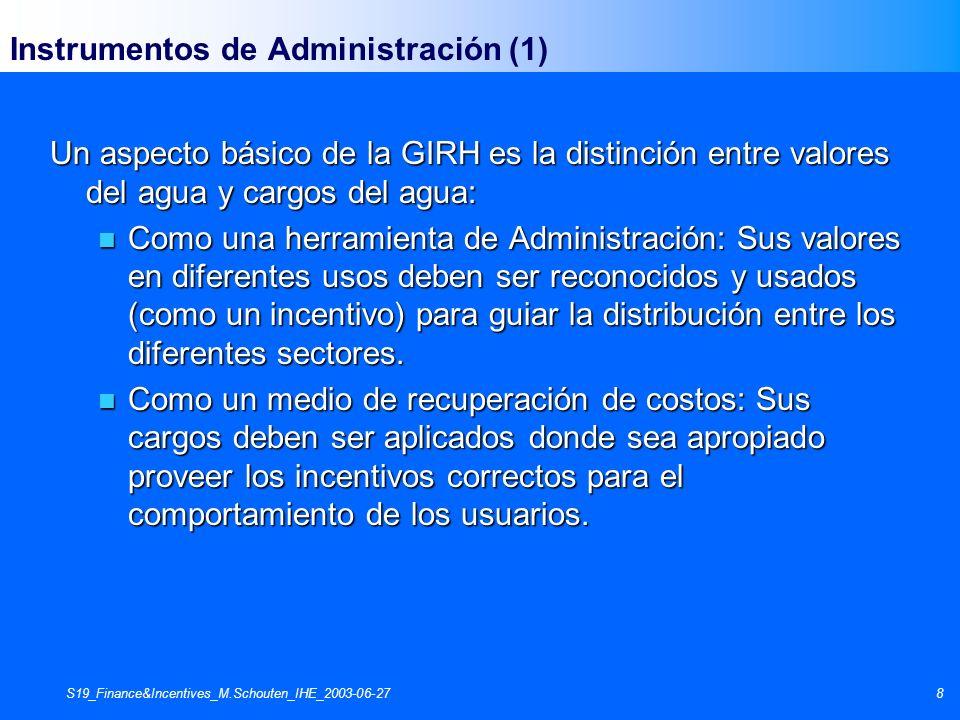 S19_Finance&Incentives_M.Schouten_IHE_2003-06-278 Instrumentos de Administración (1) Un aspecto básico de la GIRH es la distinción entre valores del a