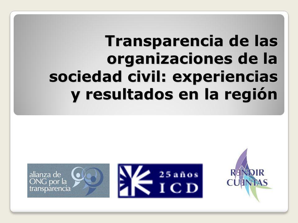 Transparencia de las organizaciones de la sociedad civil: experiencias y resultados en la región