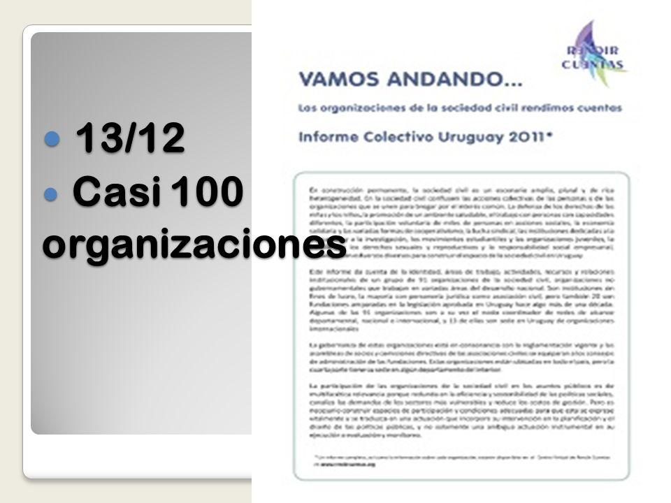 13/12 13/12 Casi 100 Casi 100organizaciones